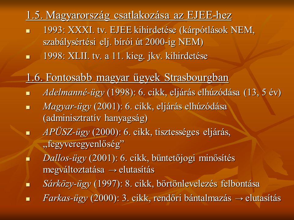 1.5. Magyarország csatlakozása az EJEE-hez