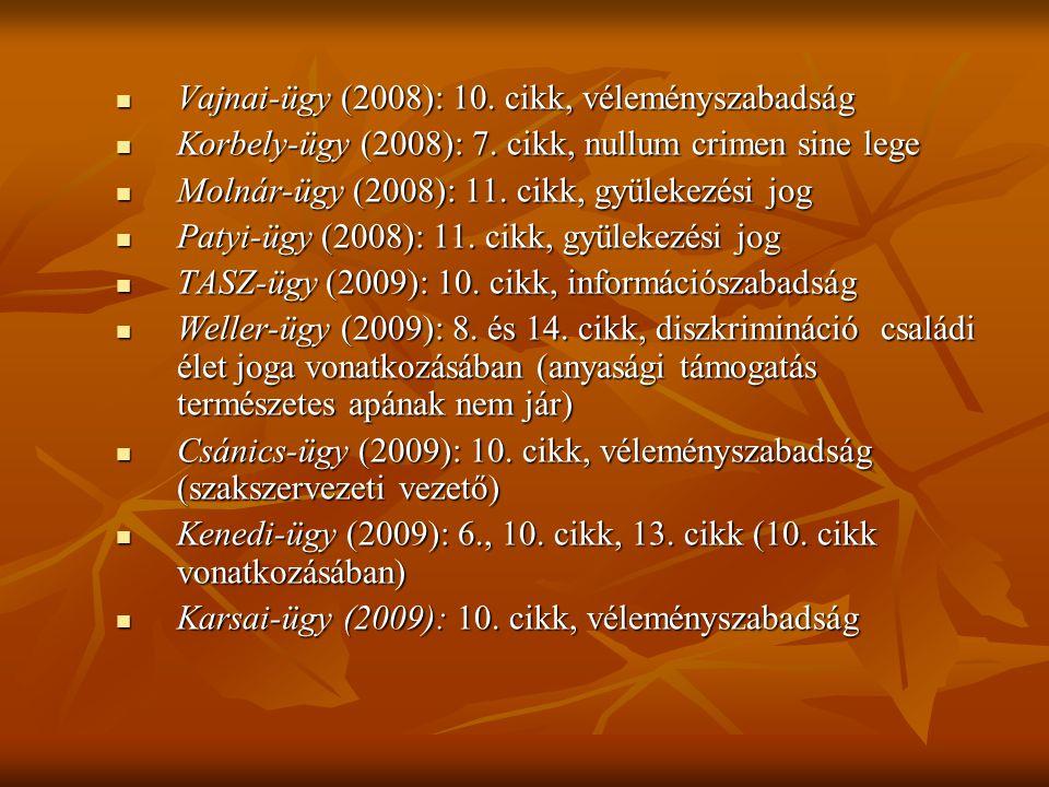 Vajnai-ügy (2008): 10. cikk, véleményszabadság