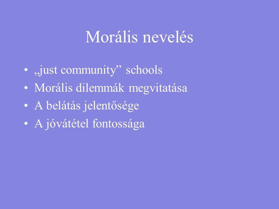 """Morális nevelés """"just community schools Morális dilemmák megvitatása"""