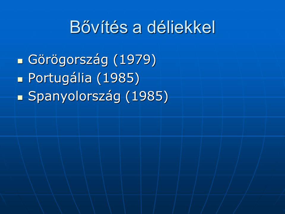 Bővítés a déliekkel Görögország (1979) Portugália (1985)