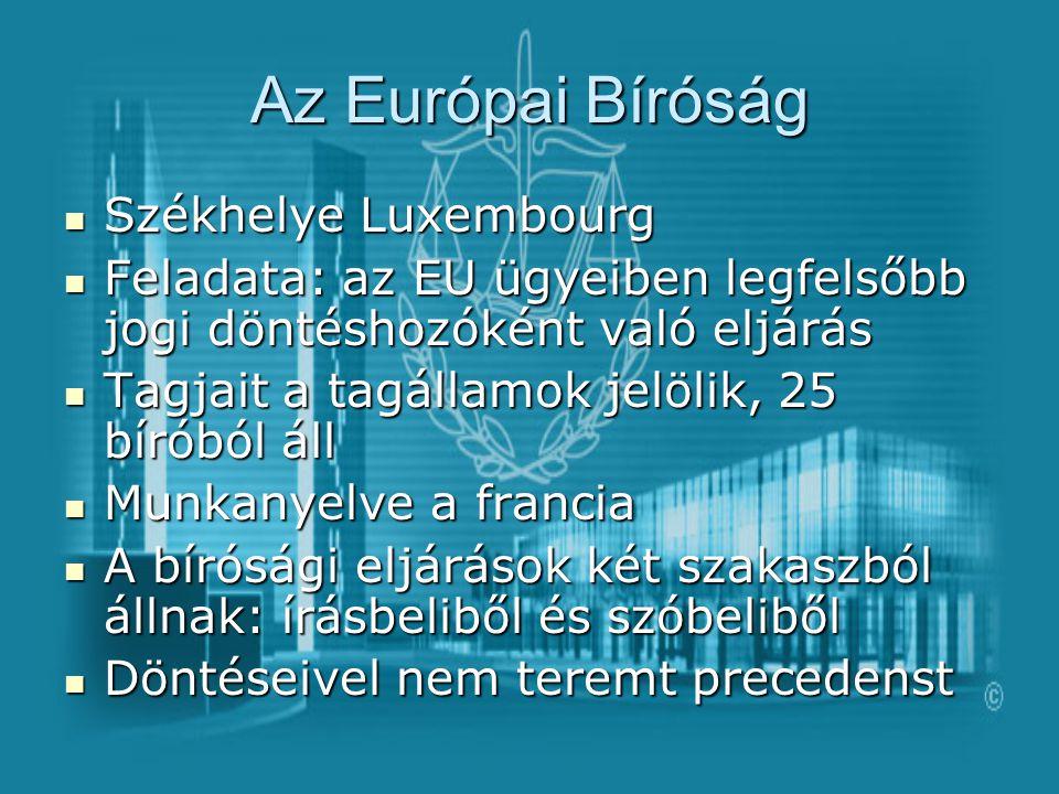 Az Európai Bíróság Székhelye Luxembourg