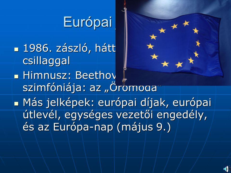 Európai jelképek 1986. zászló, hátterében a 12 csillaggal