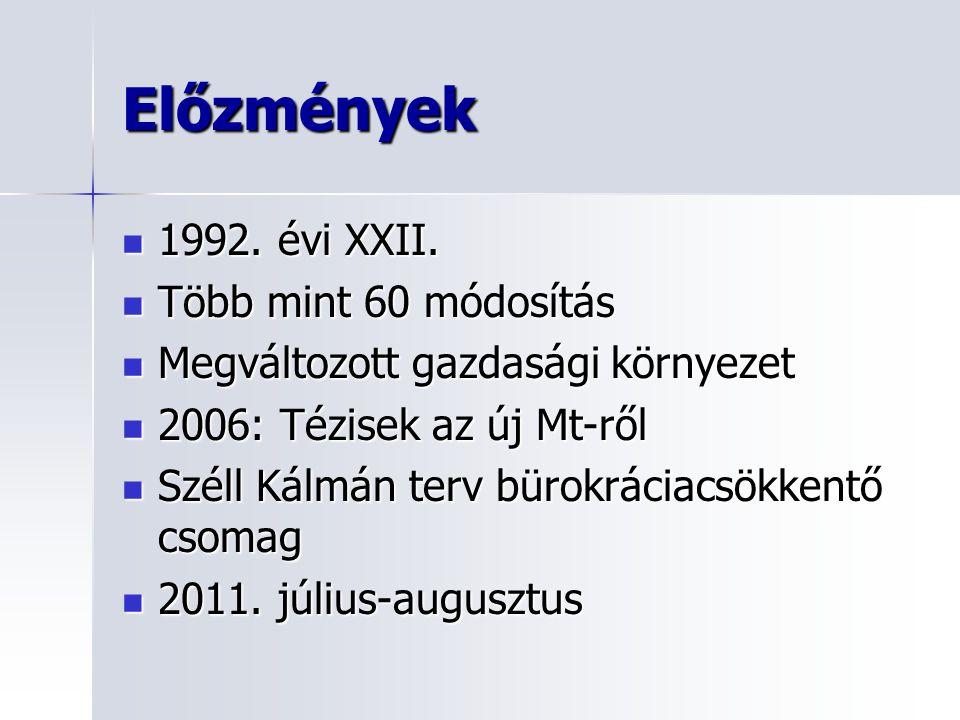 Előzmények 1992. évi XXII. Több mint 60 módosítás