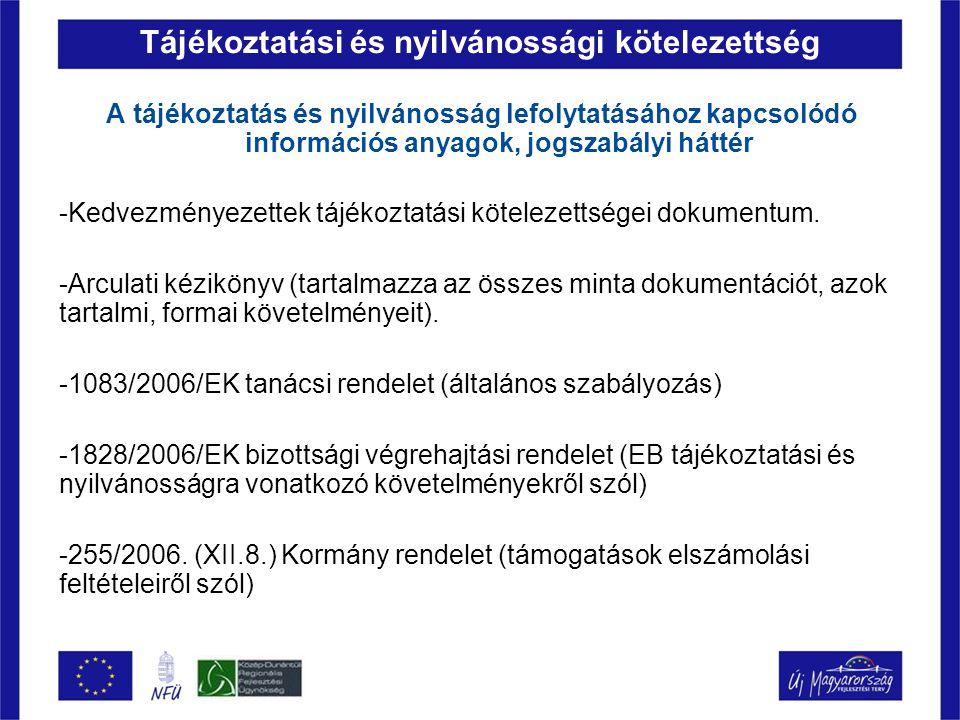 Tájékoztatási és nyilvánossági kötelezettség