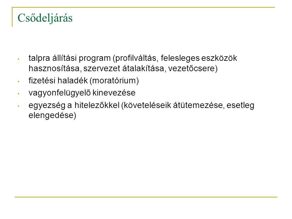 Csődeljárás talpra állítási program (profilváltás, felesleges eszközök hasznosítása, szervezet átalakítása, vezetőcsere)
