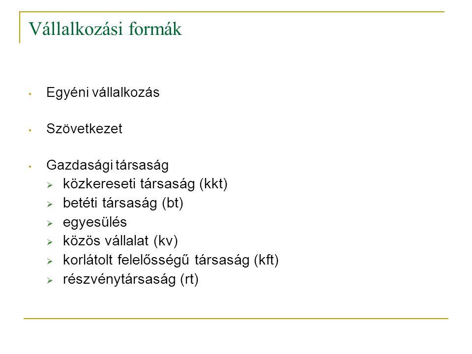 Vállalkozási formák közkereseti társaság (kkt) betéti társaság (bt)