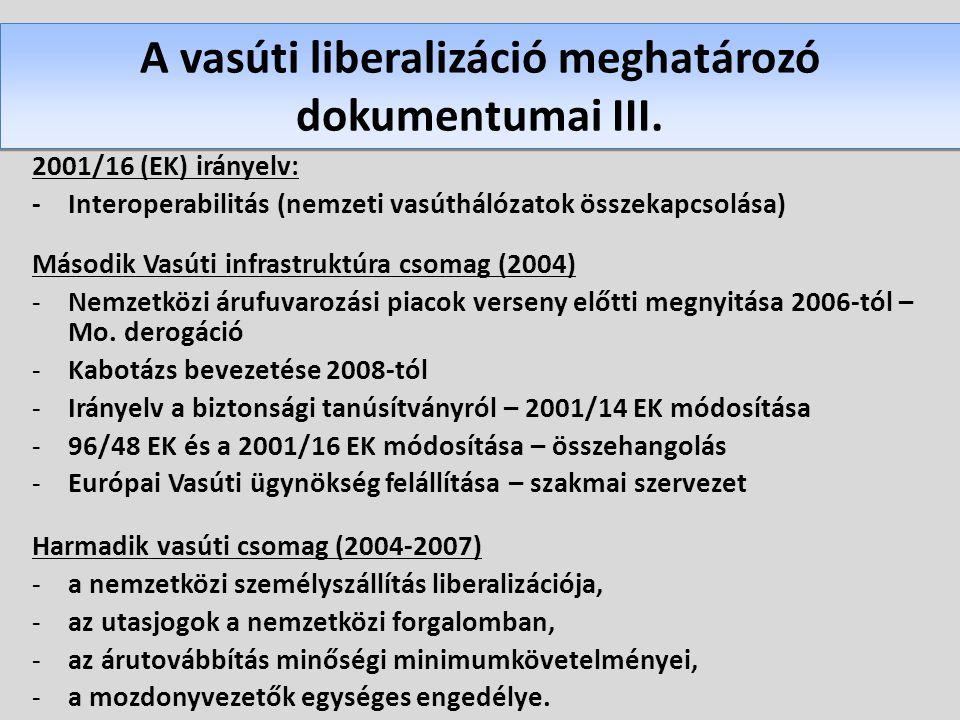A vasúti liberalizáció meghatározó dokumentumai III.