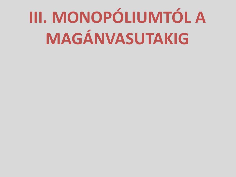 III. MONOPÓLIUMTÓL A MAGÁNVASUTAKIG