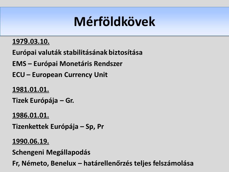 Mérföldkövek 1979.03.10. Európai valuták stabilitásának biztosítása