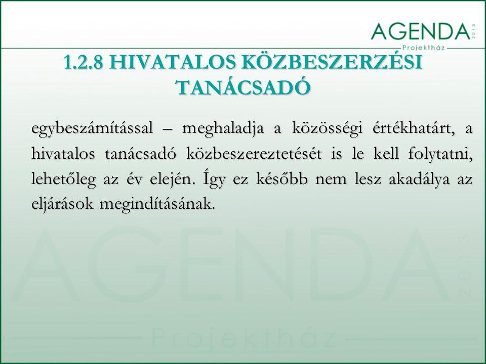 1.2.8 HIVATALOS KÖZBESZERZÉSI TANÁCSADÓ