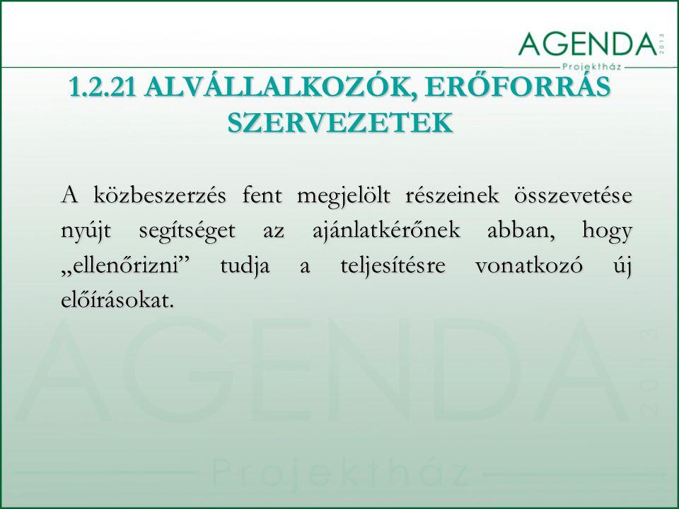 1.2.21 ALVÁLLALKOZÓK, ERŐFORRÁS SZERVEZETEK