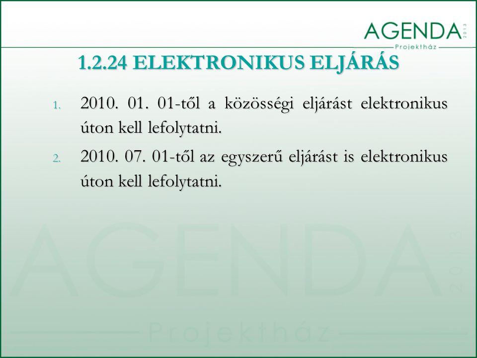 1.2.24 ELEKTRONIKUS ELJÁRÁS 2010. 01. 01-től a közösségi eljárást elektronikus úton kell lefolytatni.