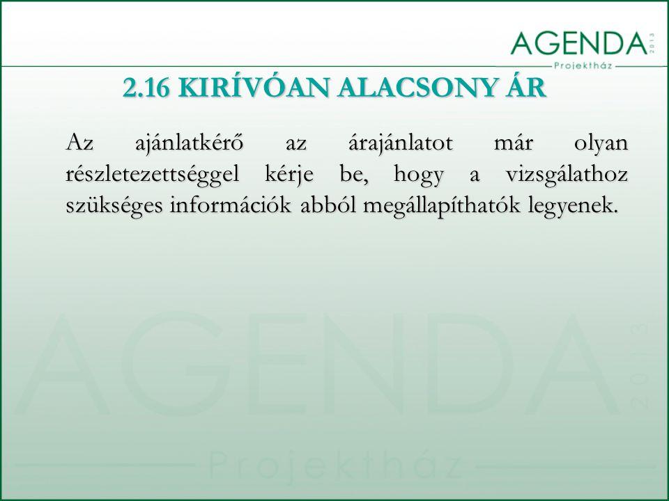 2.16 KIRÍVÓAN ALACSONY ÁR