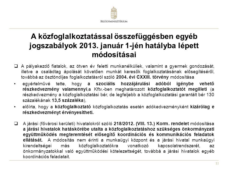 A közfoglalkoztatással összefüggésben egyéb jogszabályok 2013