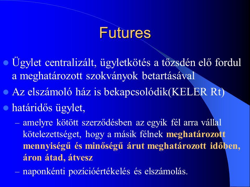 Futures Ügylet centralizált, ügyletkötés a tőzsdén elő fordul a meghatározott szokványok betartásával.