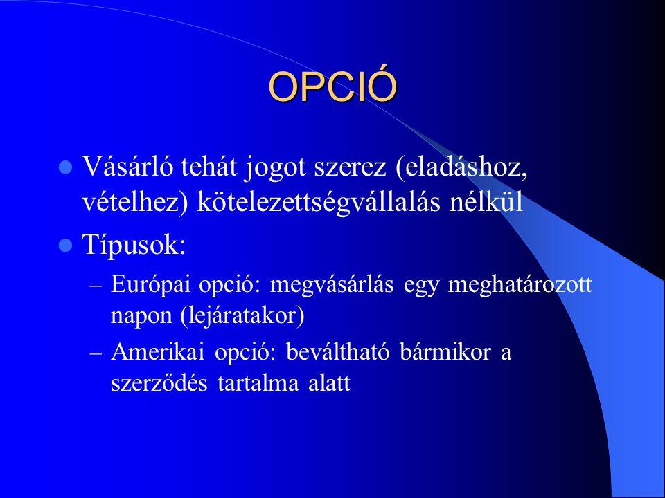 OPCIÓ Vásárló tehát jogot szerez (eladáshoz, vételhez) kötelezettségvállalás nélkül. Típusok: