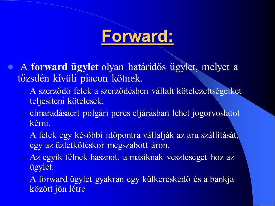 Forward: A forward ügylet olyan határidős ügylet, melyet a tőzsdén kívüli piacon kötnek.