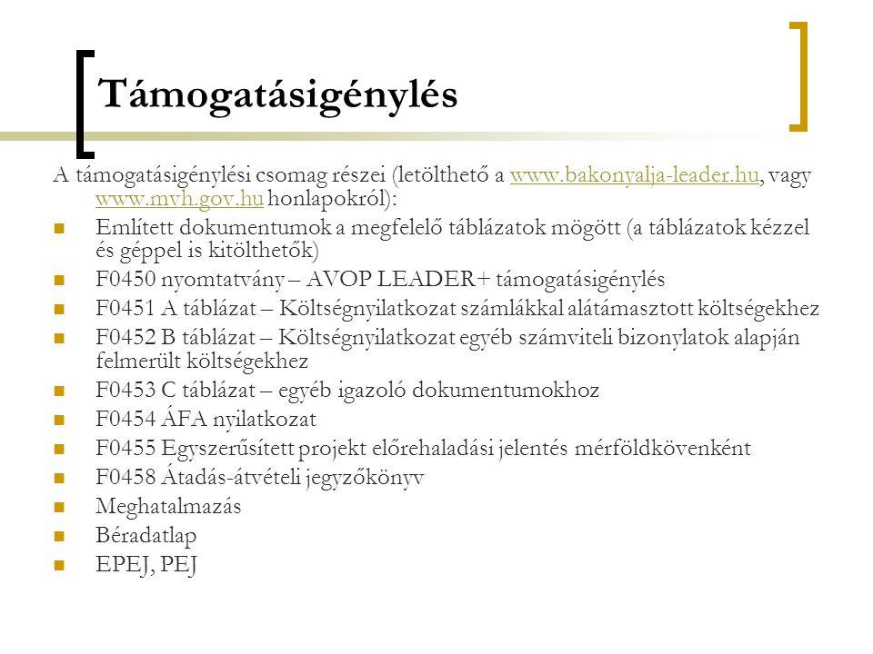 Támogatásigénylés A támogatásigénylési csomag részei (letölthető a www.bakonyalja-leader.hu, vagy www.mvh.gov.hu honlapokról):