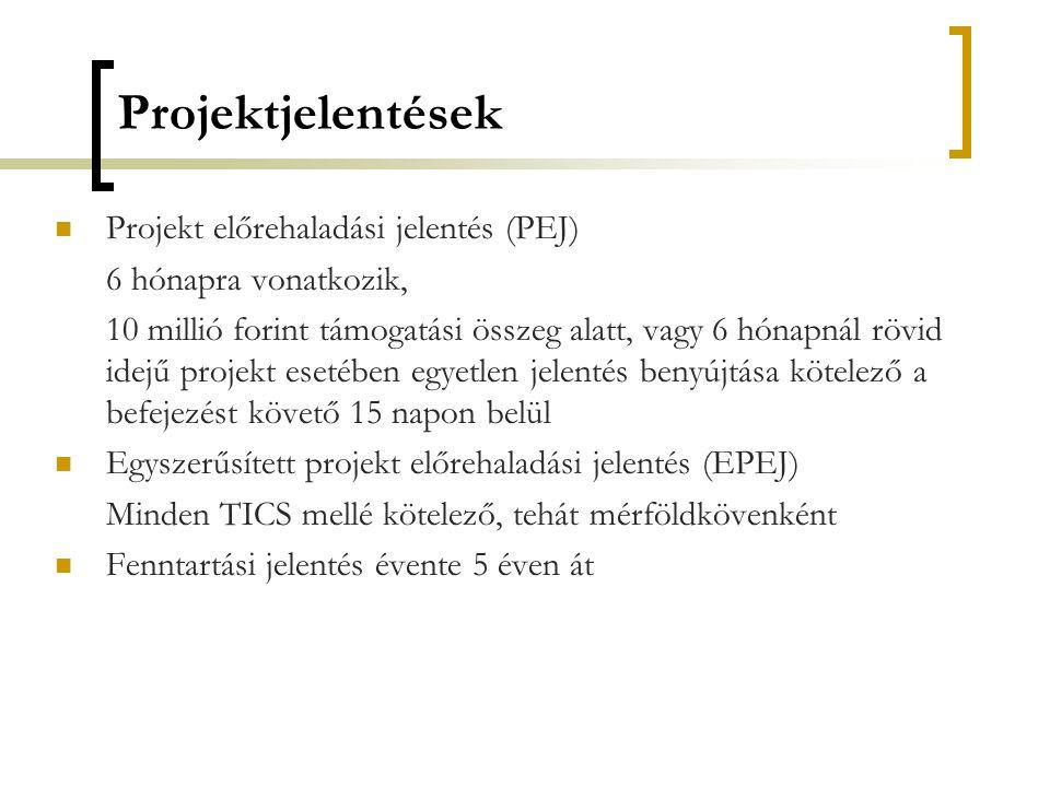 Projektjelentések Projekt előrehaladási jelentés (PEJ)