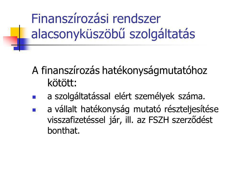 Finanszírozási rendszer alacsonyküszöbű szolgáltatás