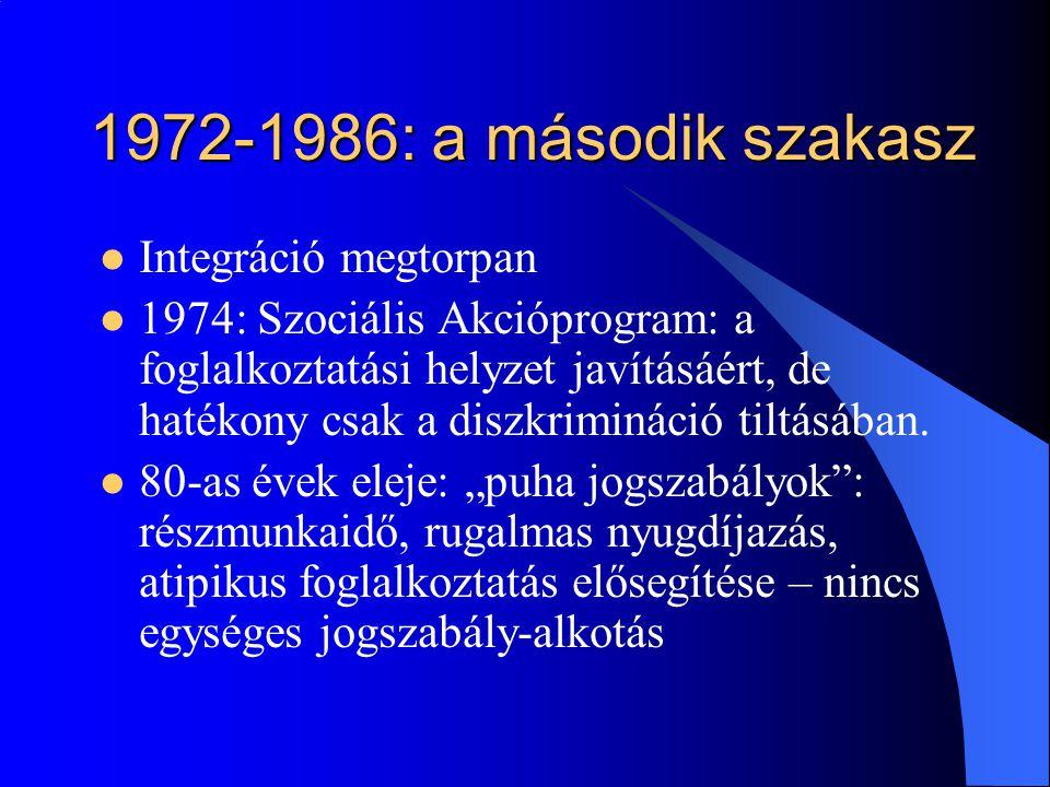 1972-1986: a második szakasz Integráció megtorpan