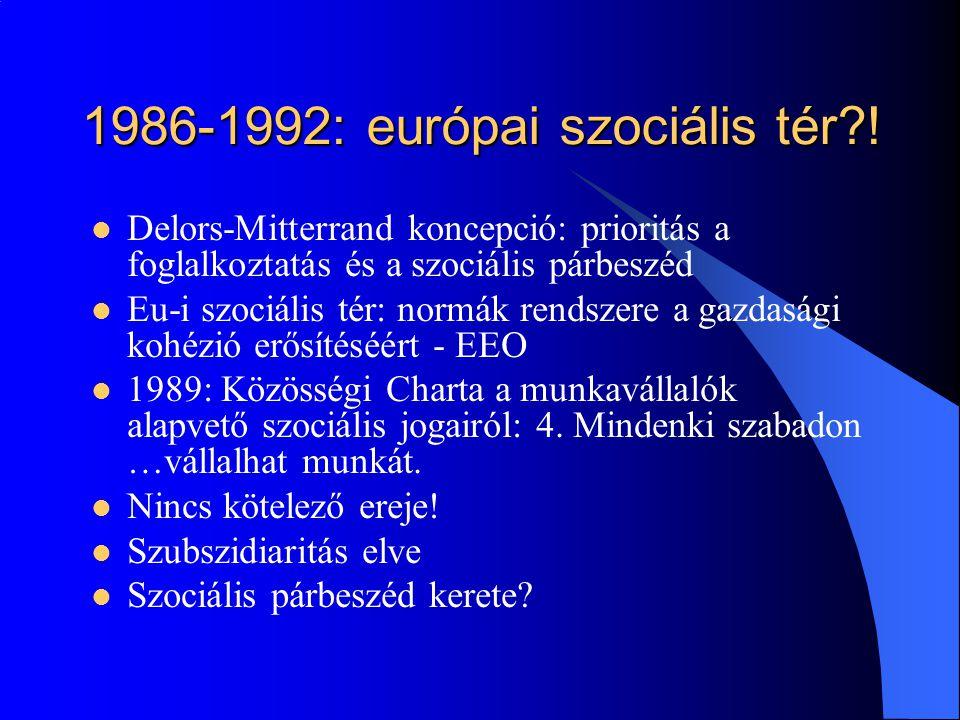 1986-1992: európai szociális tér !