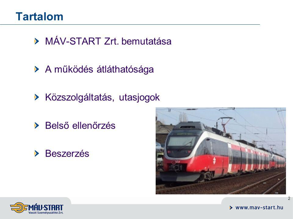 Tartalom MÁV-START Zrt. bemutatása A működés átláthatósága