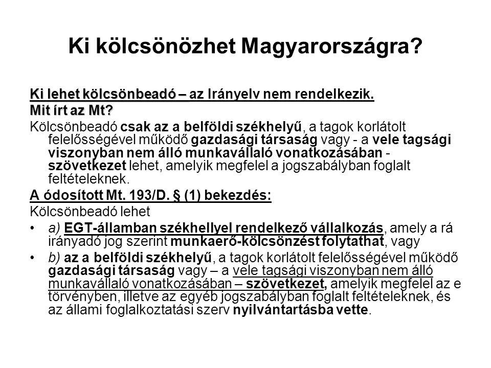 Ki kölcsönözhet Magyarországra