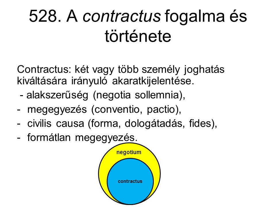 528. A contractus fogalma és története