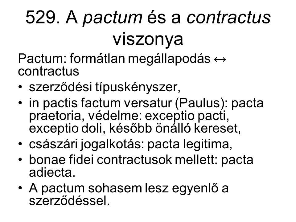 529. A pactum és a contractus viszonya