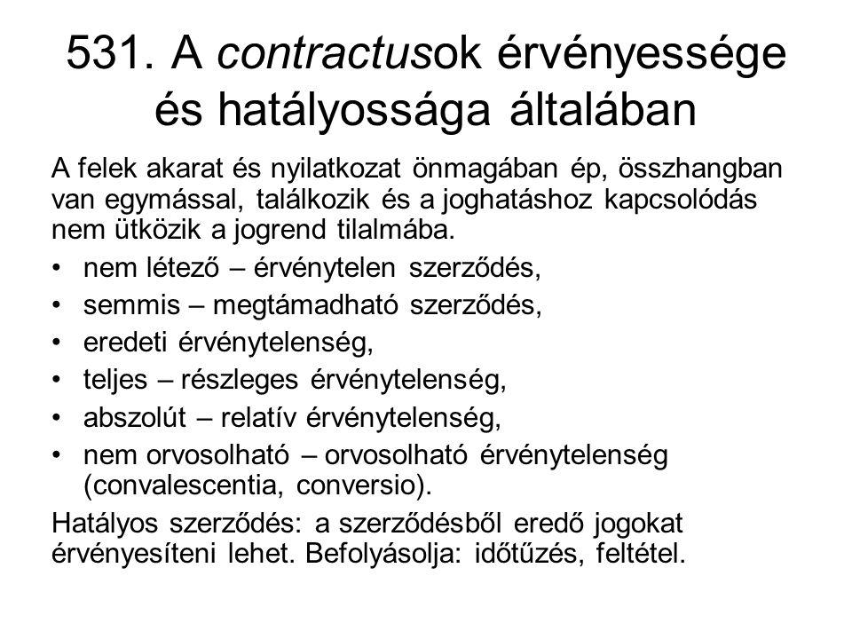531. A contractusok érvényessége és hatályossága általában