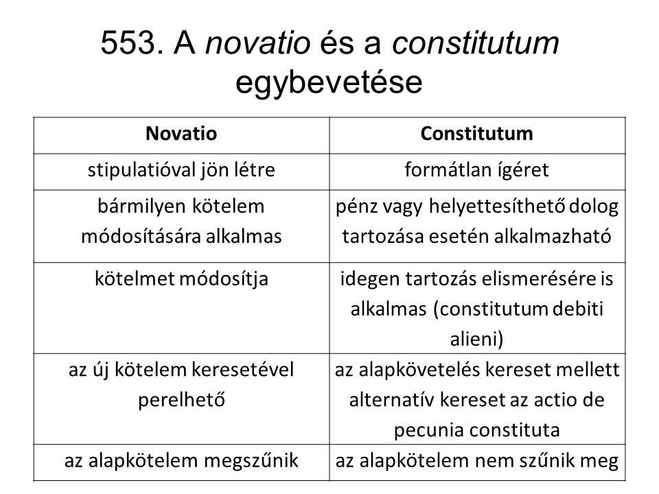 553. A novatio és a constitutum egybevetése