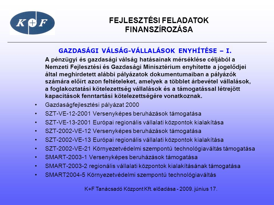 GAZDASÁGI VÁLSÁG-VÁLLALÁSOK ENYHÍTÉSE – I.