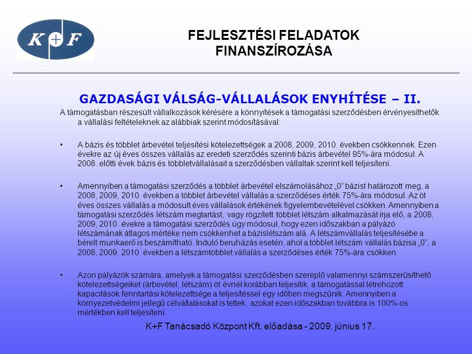 GAZDASÁGI VÁLSÁG-VÁLLALÁSOK ENYHÍTÉSE – II.