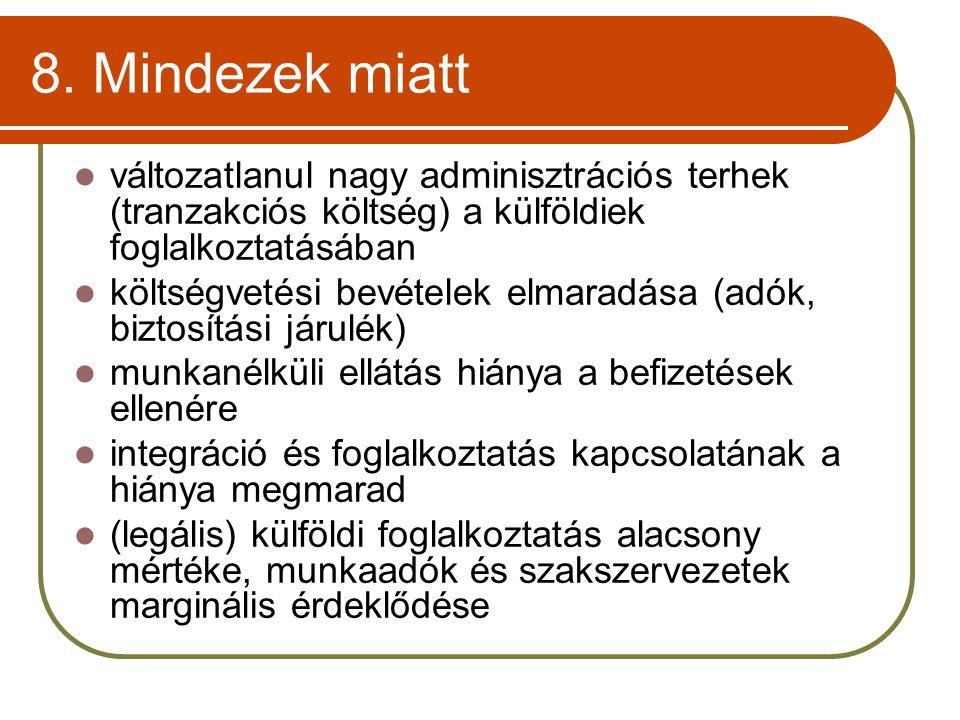 8. Mindezek miatt változatlanul nagy adminisztrációs terhek (tranzakciós költség) a külföldiek foglalkoztatásában.