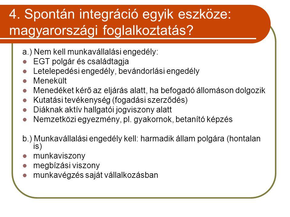 4. Spontán integráció egyik eszköze: magyarországi foglalkoztatás