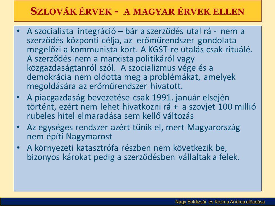 Szlovák érvek - a magyar érvek ellen