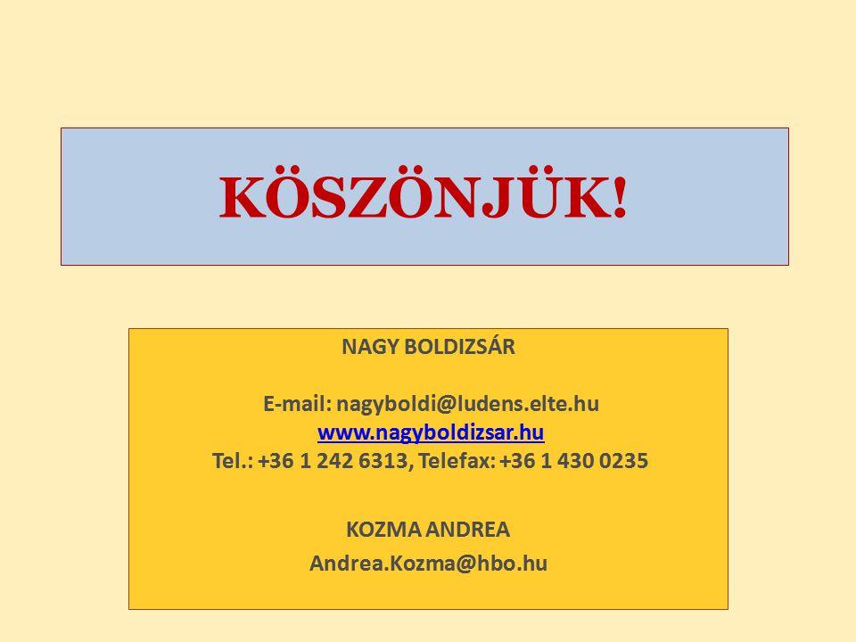 KÖSZÖNJÜK! NAGY BOLDIZSÁR E-mail: nagyboldi@ludens.elte.hu www.nagyboldizsar.hu Tel.: +36 1 242 6313, Telefax: +36 1 430 0235.