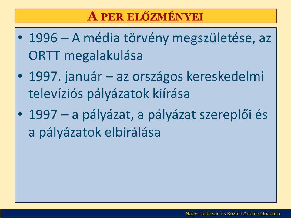1996 – A média törvény megszületése, az ORTT megalakulása