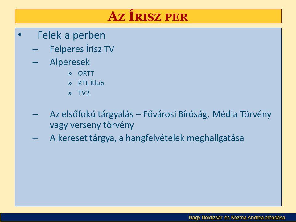 Az Írisz per Felek a perben Felperes Írisz TV Alperesek