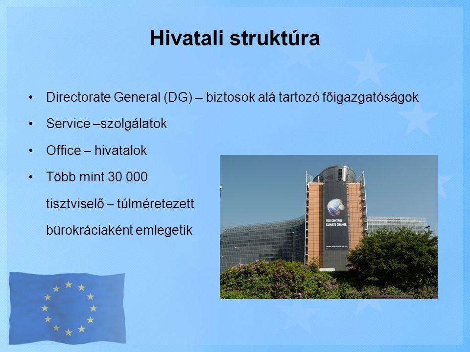 Hivatali struktúra Directorate General (DG) – biztosok alá tartozó főigazgatóságok. Service –szolgálatok.