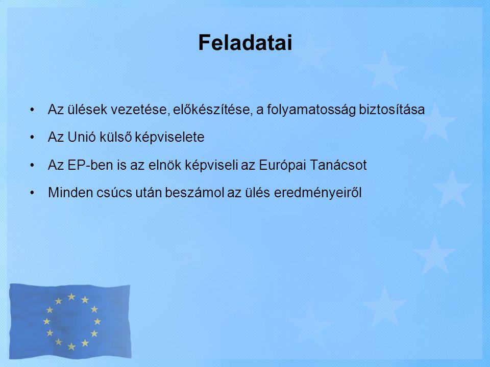 Feladatai Az ülések vezetése, előkészítése, a folyamatosság biztosítása. Az Unió külső képviselete.