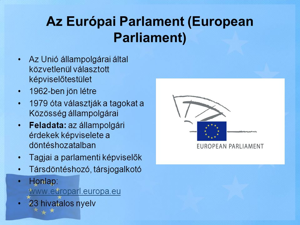 Az Európai Parlament (European Parliament)