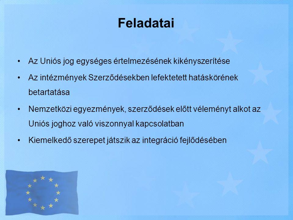 Feladatai Az Uniós jog egységes értelmezésének kikényszerítése