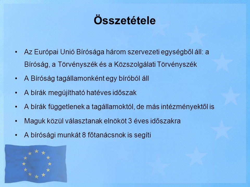 Összetétele Az Európai Unió Bírósága három szervezeti egységből áll: a Bíróság, a Törvényszék és a Közszolgálati Törvényszék.