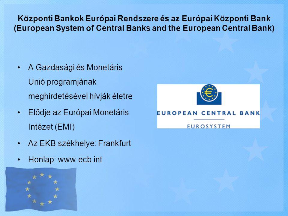 Központi Bankok Európai Rendszere és az Európai Központi Bank (European System of Central Banks and the European Central Bank)