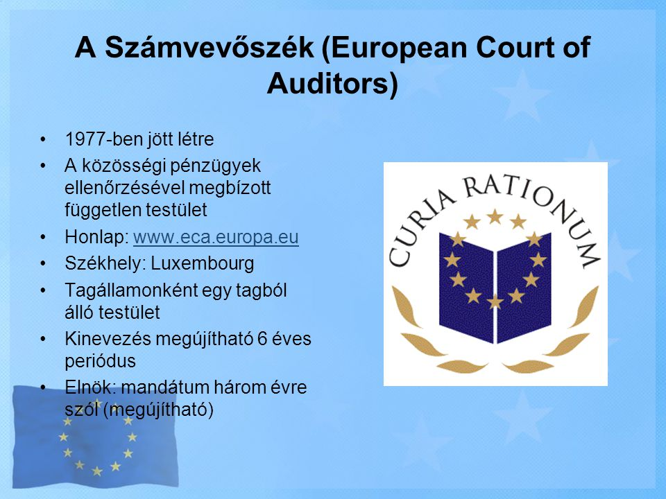 A Számvevőszék (European Court of Auditors)