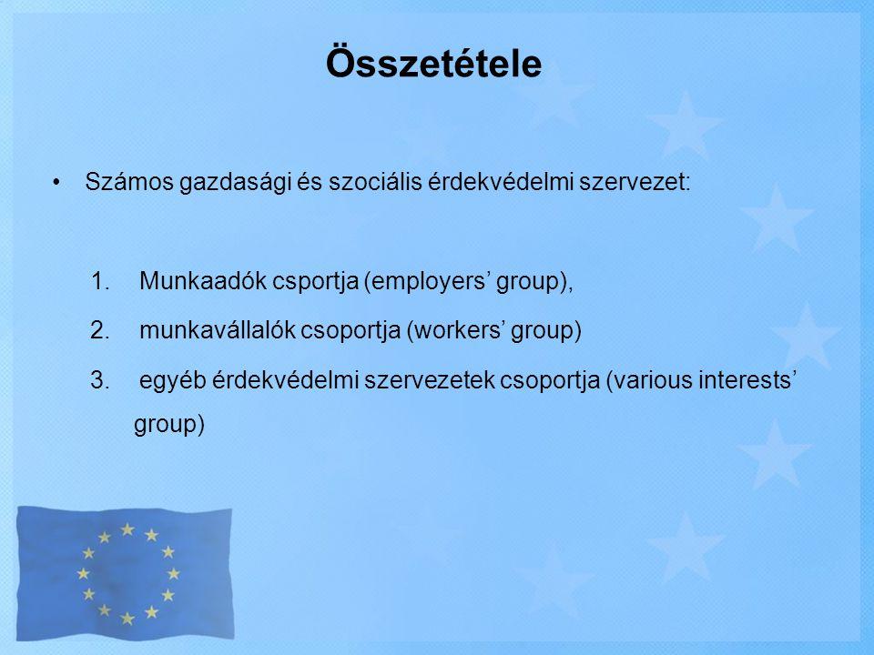 Összetétele Számos gazdasági és szociális érdekvédelmi szervezet: