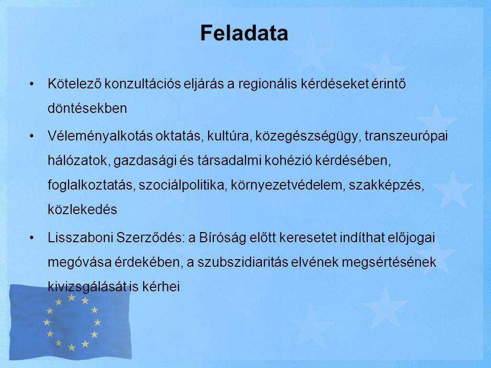 Feladata Kötelező konzultációs eljárás a regionális kérdéseket érintő döntésekben.