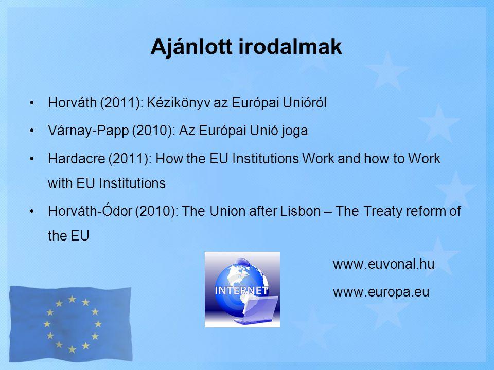 Ajánlott irodalmak Horváth (2011): Kézikönyv az Európai Unióról